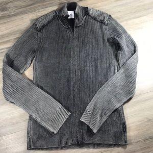 Armani Exchange marled black cotton Zip up jacket